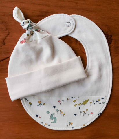 Woodland Animals Organic Cotton Baby Hat and Bib Gift Set