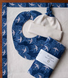Blue and Grey Baby Blanket, Bib, Hat, Burp Cloth gift