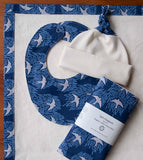 Blue, Grey and Ivory Hat, Bib, Burp Cloths, Baby Blanket