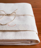 Ivory Flannel Baby Blanket with Pale Grey and Orange Trim