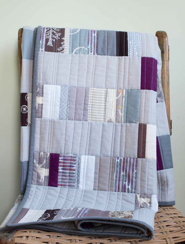 Handmade Organic Quilt, Silver Slivers