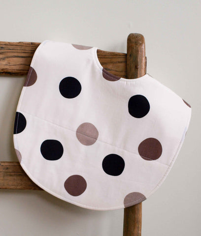 Hip Baby Bib Gift, Grey and Black Polka Dots