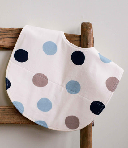 Feeding Bib, Blue and Grey Polka Dots