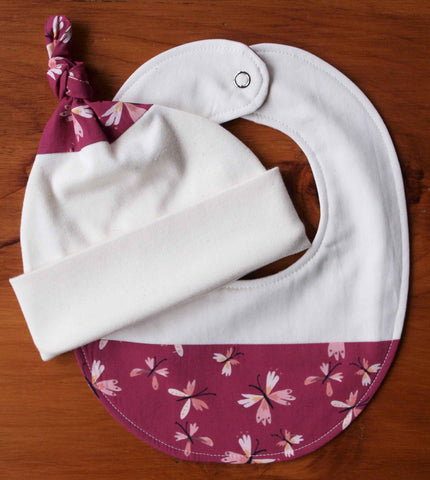 Purple butterfly print baby bib and hat gift