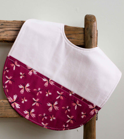 Pink and purple butterflies bib