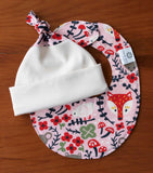 Pink and Cream Baby Cap and Teething Bib Gift