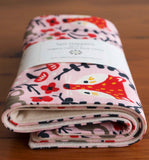 Red Fox Organic Cotton Burp Cloths for Baby Girl