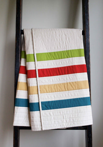 Green, Red, Yellow, Teal Striped Baby Quilt