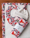 Pink, Red, and Cream Baby Bib, Blanket, Hat, Burp Cloth Gift Set