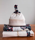 Black and Cream Baby Gift Set; Hat, Blanket, Burp Cloths