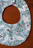 Blue Birds and Flowers Baby Teething Bib
