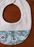 Blue and Cream Drool bib for Baby Girl