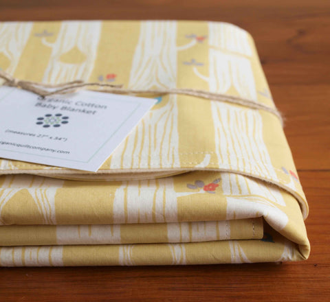 Yellow Baby blanket, trees, birds, flowers