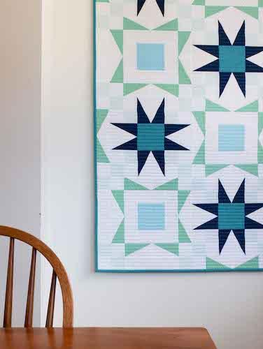 Modern Blue, White, Aqua Star Quilt