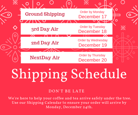 2018 Holiday Shipping Schedule