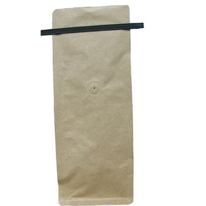 16 Ounce Square Bottom Foil Lined Coffee Bags with Tin Ties and Valve - TAN KRAFT