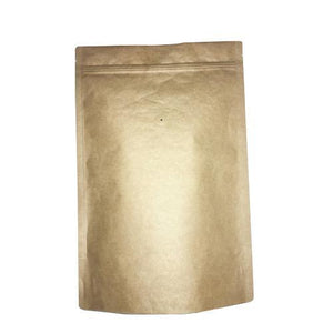 2 Pound Foil Lined Stand-Up Zip Pouch Coffee Bag with Valve - TAN KRAFT 100 Count