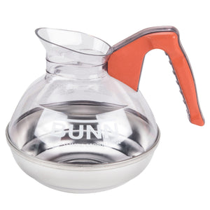 Bunn Easy Pour Coffee Pot - 12 Cup - Plastic with Stainless Bottom, Orange Handle (Decaf), Each - Coffee Wholesale USA
