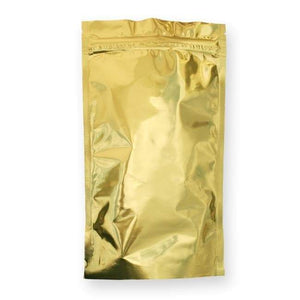 100 Count. One Pound Stand Up Pouch with Zipper and Valve - GOLD