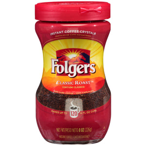 Folgers Classic Roast Caffeinated Instant Coffee Crystals, 8 Ounces - 6 per Case - Coffee Wholesale USA