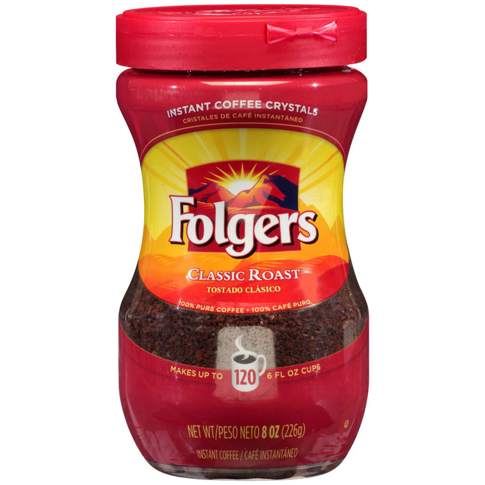 Folgers Classic Roast Instant Coffee Crystals, 8 Ounces - 6 per Case