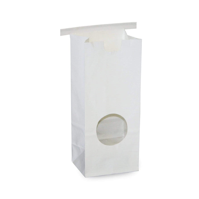 Window Bags - Half Pound Coffee Bags with Window and Tin Ties - WHITE