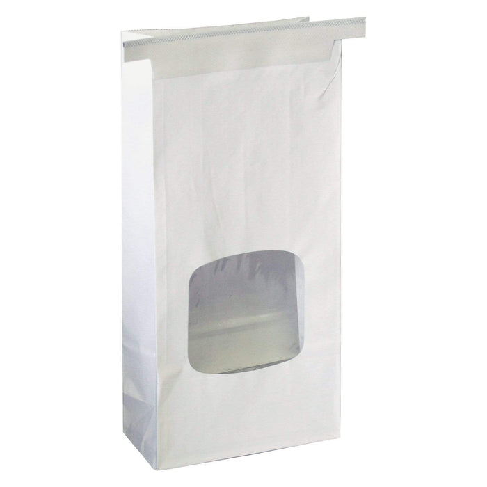 Window Bags - One Pound Coffee Bags with Window and Tin Ties - WHITE