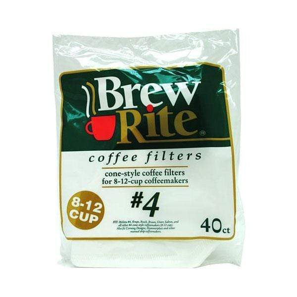 Brew Rite Coffee Filters - #4 Cone (Paper, No. 4 Size) - Box of 480