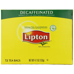 Lipton Tea Bags - All Natural - DECAF - 72ct Box