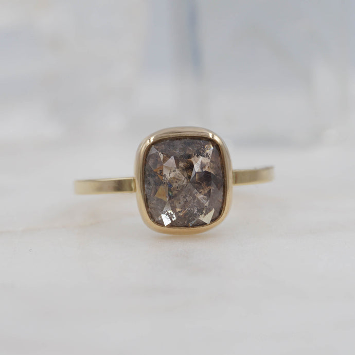 1.9 CARAT CHOCOLATE SQUARE DIAMOND ENGAGEMENT RING 14K YELLOW GOLD