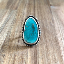 Load image into Gallery viewer, KINGMAN ABSTRACT-SHAPED TURQUOISE STERLING SILVER RING