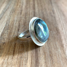 Load image into Gallery viewer, ROUND LABRADORITE STERLING SILVER RING