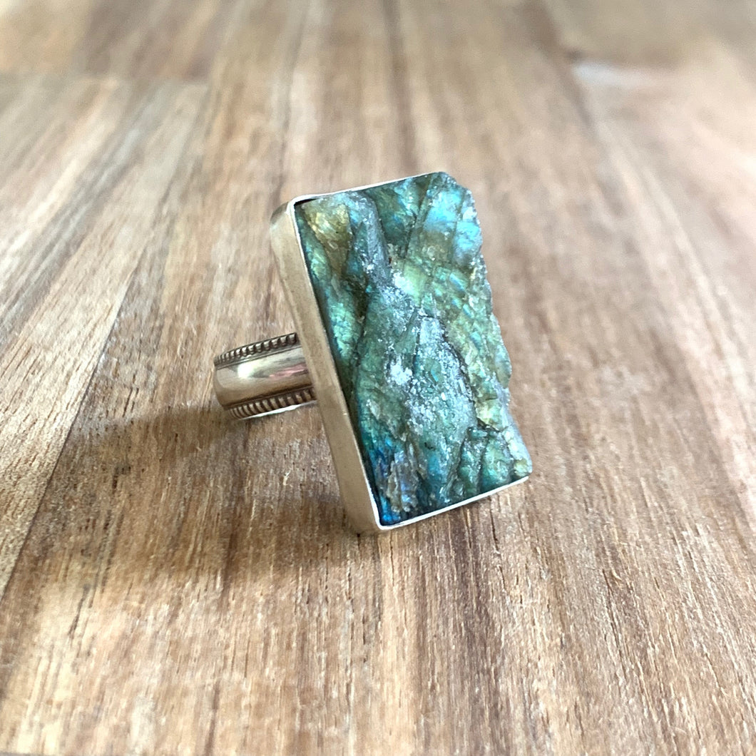 RAW RECTANGLE LABRADORITE STERLING SILVER RING