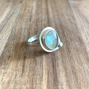 LABRADORITE ABSTRACT STERLING SILVER RING