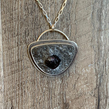 Load image into Gallery viewer, ROUND-EDGED TRIANGLE RAW GARNET STERLING SILVER PENDANT