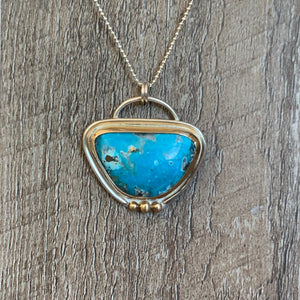 KINGMAN TURQUOISE STERLING SILVER PENDANT WITH 14K GOLD ACCENTS