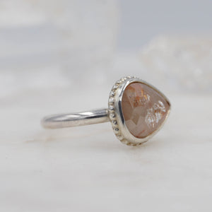 2.1 CARAT PEACHY PEAR DIAMOND RING STERLING SILVER