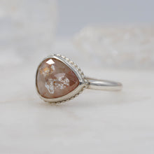 Load image into Gallery viewer, 2.1 CARAT PEACHY PEAR DIAMOND RING STERLING SILVER
