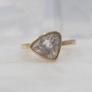 1.4 Carat Salt and Pepper Triangle Diamond Engagement Ring, set in 14K Yellow Gold | Michelle Kobernik