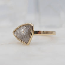 Load image into Gallery viewer, 1.4 Carat Salt and Pepper Triangle Diamond Engagement Ring, set in 14K Yellow Gold | Michelle Kobernik