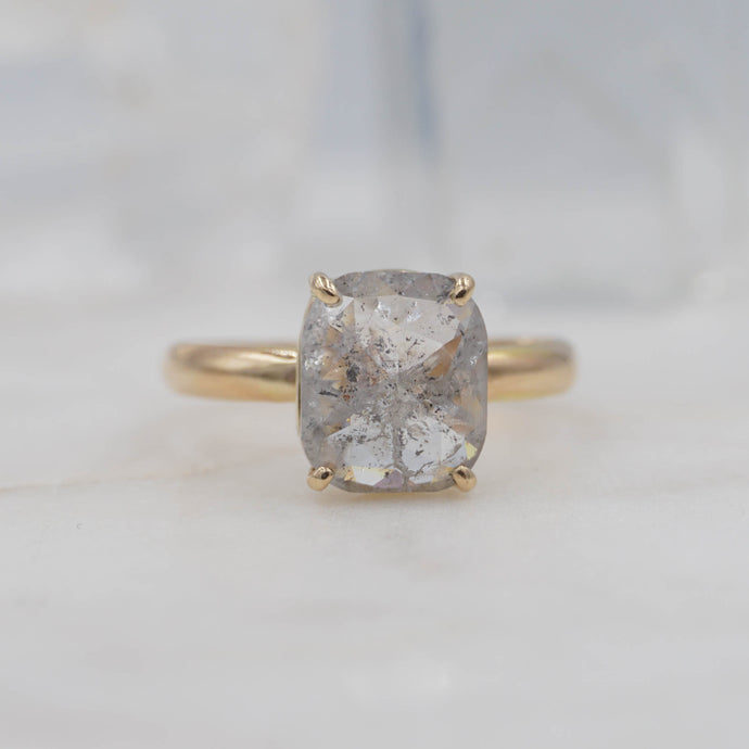 z 2 Carat Rectangle Salt and Pepper Diamond Engagement Ring in 14K Yellow Gold