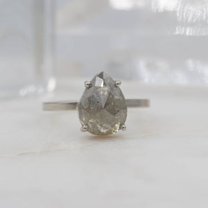 2.1 CARAT SALT & PEPPER PEAR DIAMOND ENGAGEMENT RING 14K WHITE GOLD