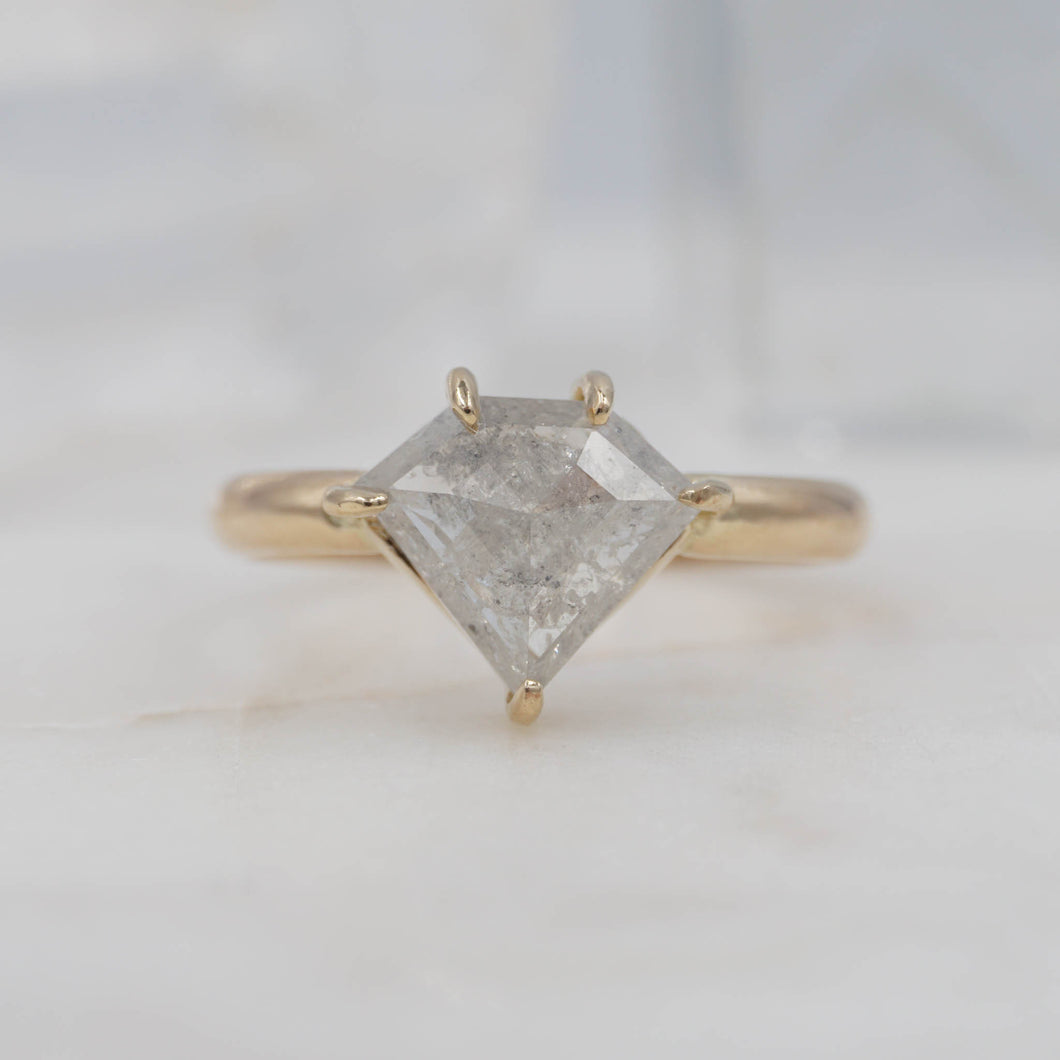 2.4 Carat Shield Diamond Engagement/ Power Ring set in 14K Yellow Gold | Michelle Kobernik