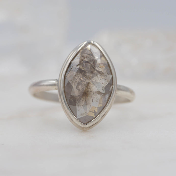 3.4 CARAT SMOKEY MARQUISE DIAMOND RING SET IN STERLING SILVER