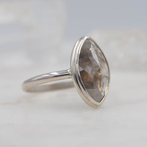 3.4 Carat Smokey Marquise Diamond Engagement Ring, set in Sterling Silver | Michelle Kobernik