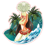 ALOHA GIRL PINUP STICKER - DEVILSIX