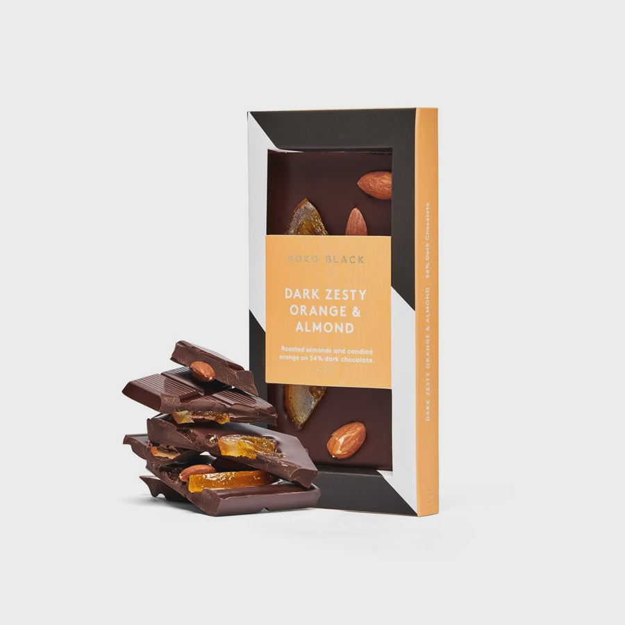 Zesty Orange & Almond | Dark Chocolate Block