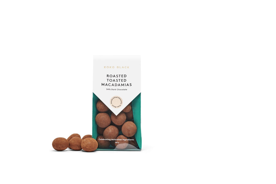 Roasted Toasted Macadamias 100g | Dark Chocolate