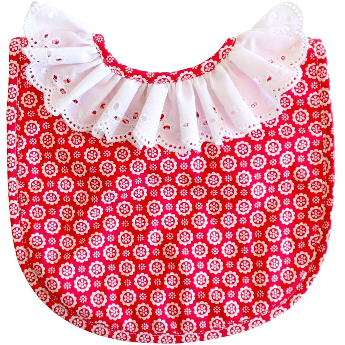 Ruffle Collar Bib Red
