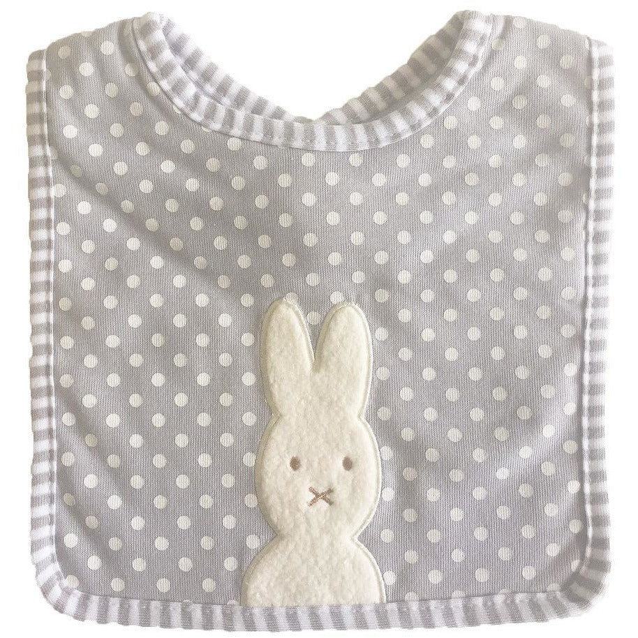 Bunny Applique Bib Grey Spot